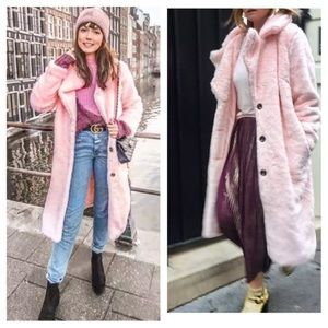 Zara pink faux fur Long coat